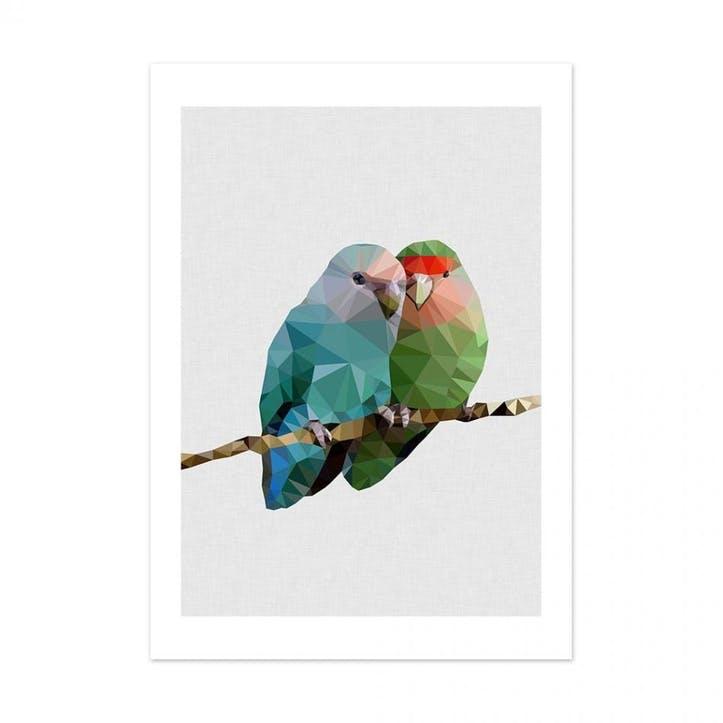 Geometric Two Love Birds Print