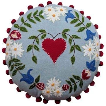 Alpine Heart Round Cushion, 46 x 46cm, Duck Egg Blue