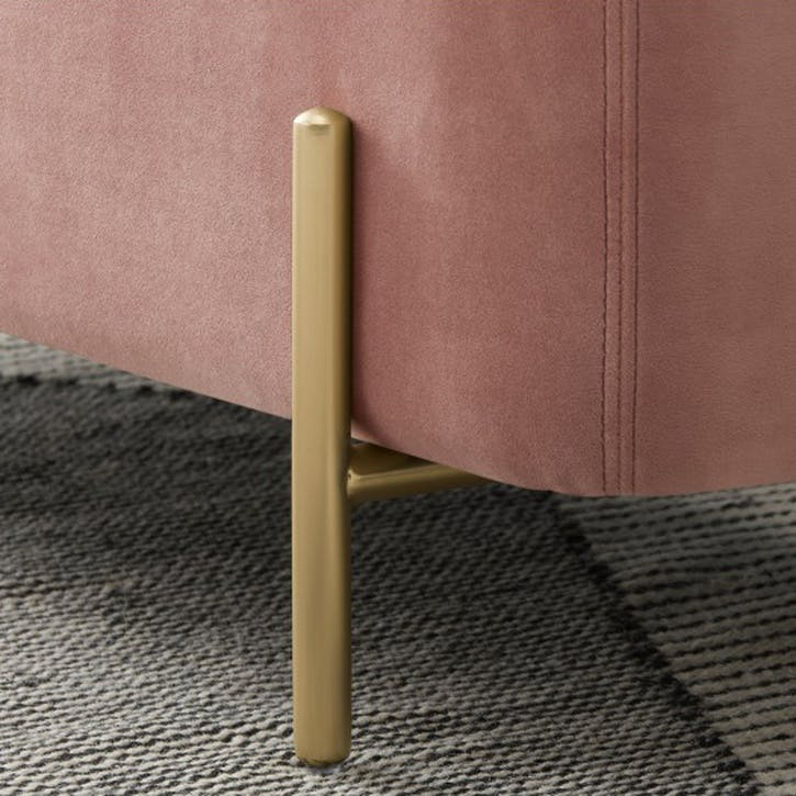 Asare upholstered storage bench, Blush Pink and Brass