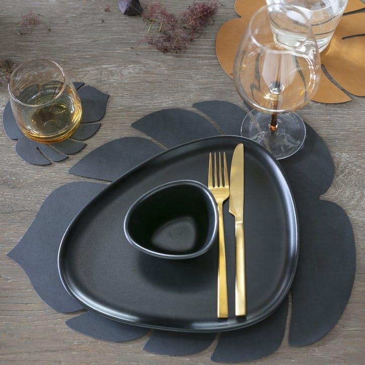 Monstera Placemat, Black, Set of 4
