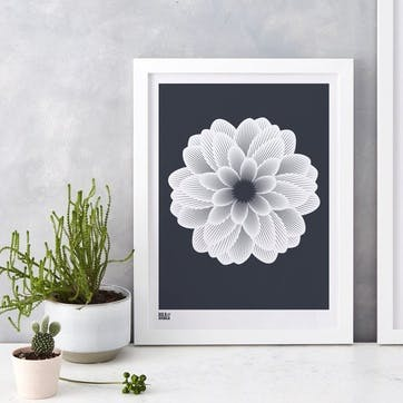 Dahlia Peony Screen Print - 30 x 40cm; Slate