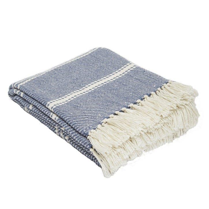 Oxford Stripe Blanket, 2.3 x 1.3m, Navy