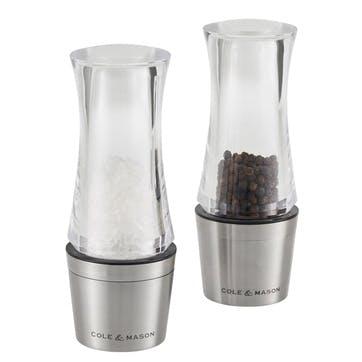 Downton Stemless Salt & Pepper Mill Gift Set, 140mm