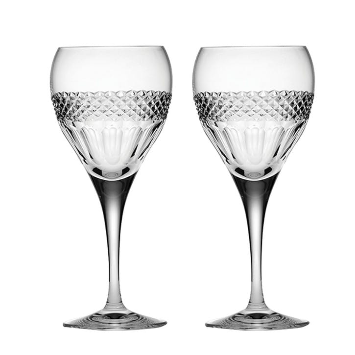 Diamonds Small Crystal Wine Glasses, Set of 2