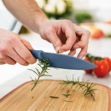 Leo, Chef's Knife with Herb Stripper, 14cm, Blue