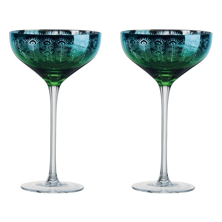 Peacock Champagne Saucers, Set of 2