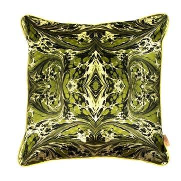 Khaki Fantasy Kaleidoscope, Square Velvet Cushion
