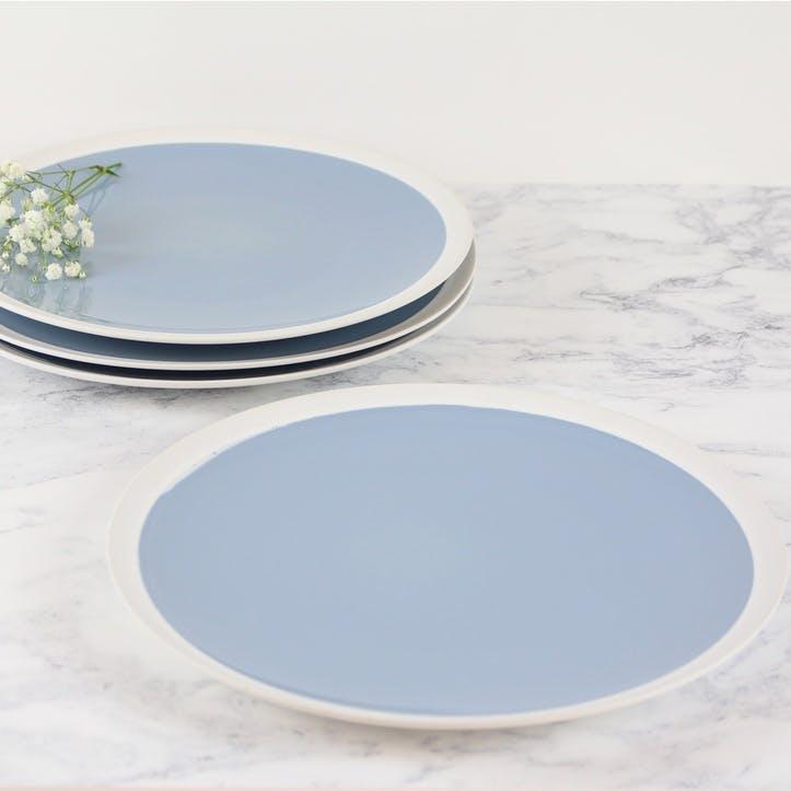 Organic Blue Dinner Plates, Set of 4