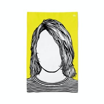 Icon 'Kurt Cobain' Tea Towel, 47cm x 74cm, Yellow