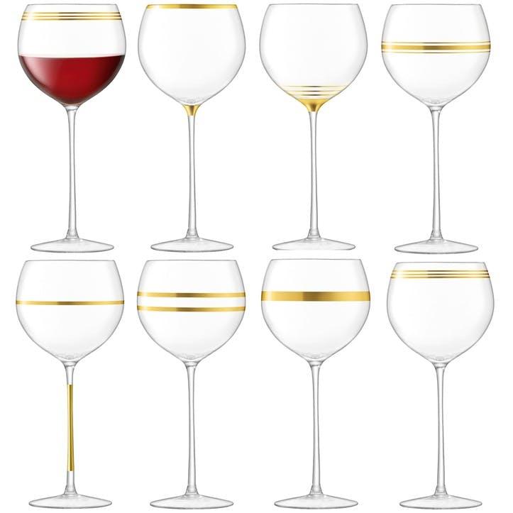 Deco Set of 8 Wine Goblets, Gold