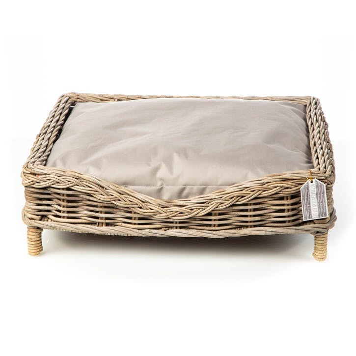 Rattan Square Dog Bed with Water Resistant Cushion