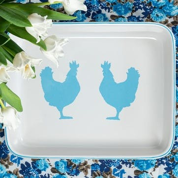 Cock-A-Doodle-Blue Oven Dish