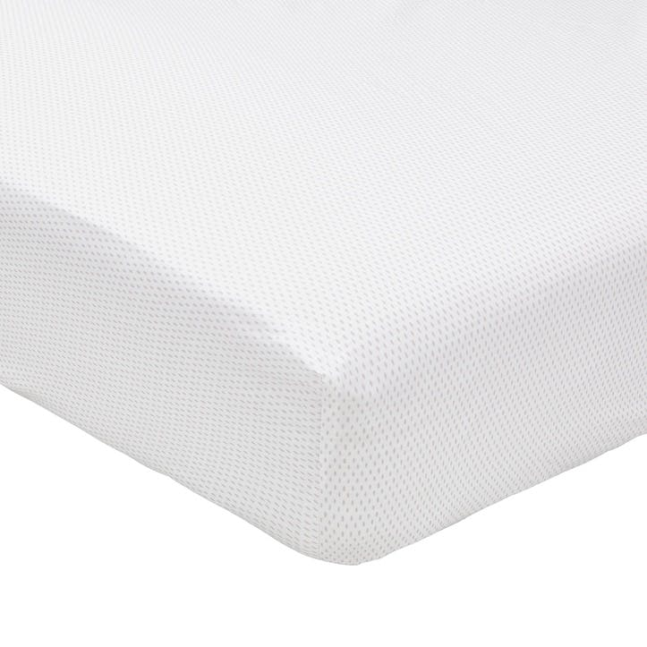 Tulip Double Fitted Sheet, Cloud Grey