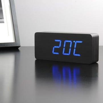 Slab Click Clock Black/ Blue LED, 21cm