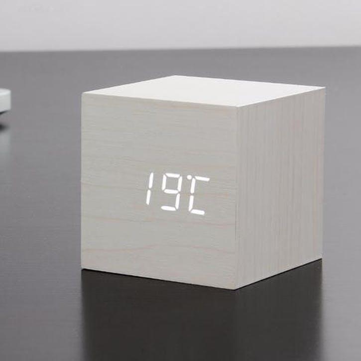 Cube Click Clock White/ White LED, 6.8cm