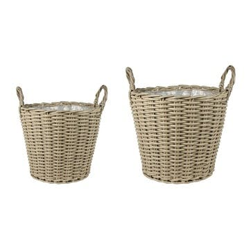 Set Of 2 Small Planters, Natural