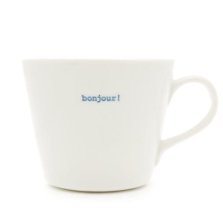 'Bonjour!' Bucket Mug, 350ml