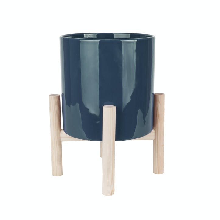 Trestle Plant Pot, Dark Blue