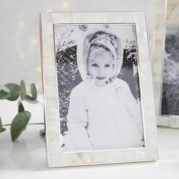 """Mother Of Pearl Photo Frame 4x6"""", White"""