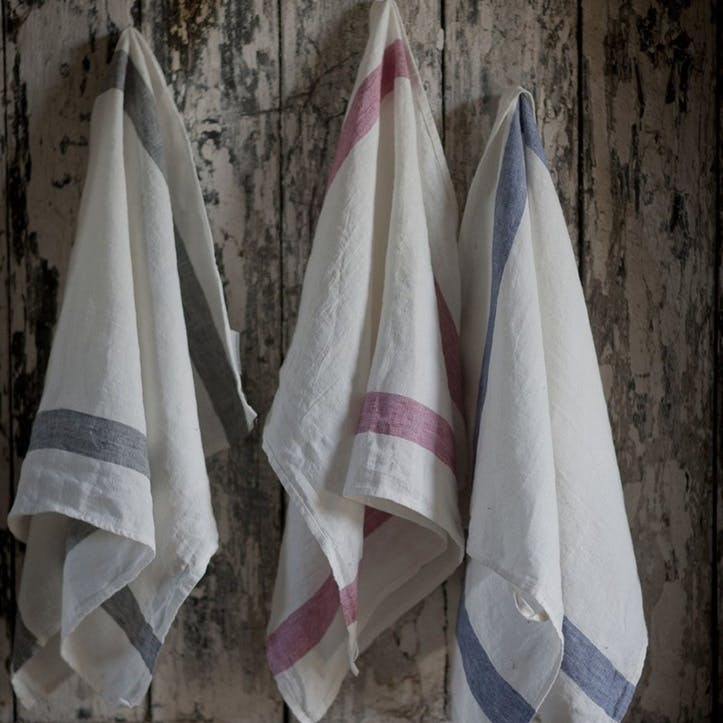 Arles Tea Towel, Charcoal Stripe