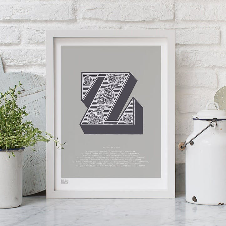 Illustrated Letter Z Screen Print, 30cm x 40cm, Putty