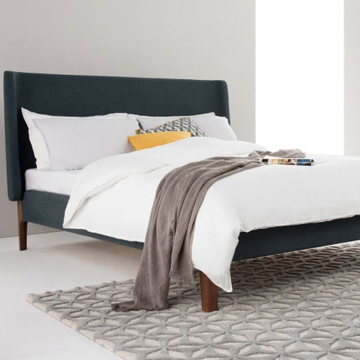Roscoe Upholstered Bed - Double; Agean Blue