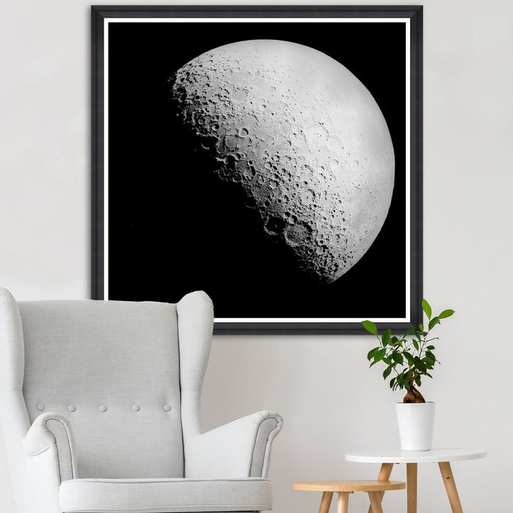 The Moon Black Framed Print,90 x 90cm