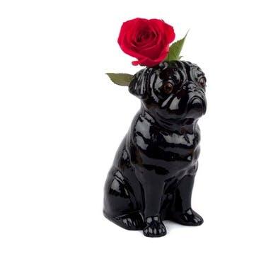 Pug Flower Vase, H22cm, Black