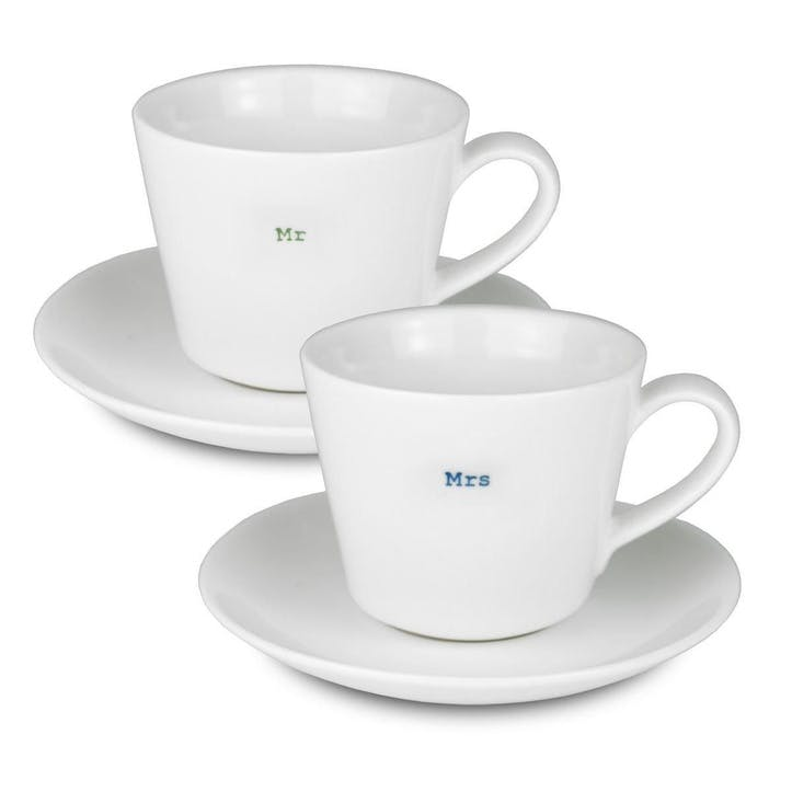 'Mr & Mrs' Set of 2 Espresso Cups, 70ml