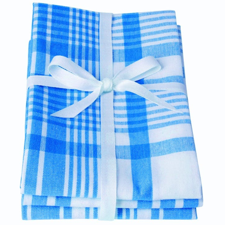 Extra Large Tea Towels, Set of 3, Moroccan Blue