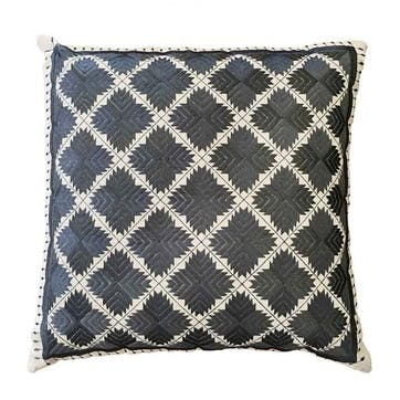 Phulkari Diamonds Embroidered Square Cushion; Grey