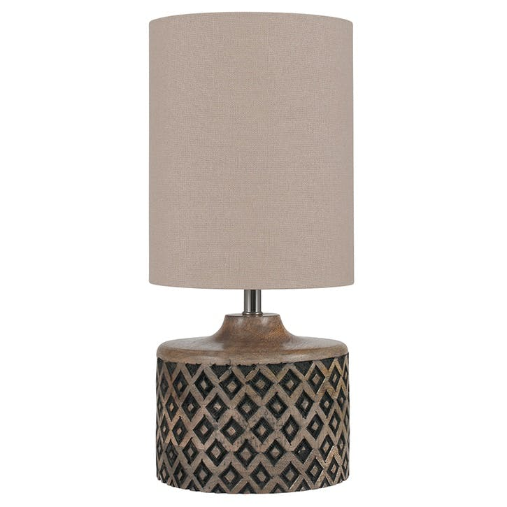 Orissa Short Wooden Diamond Table Lamp
