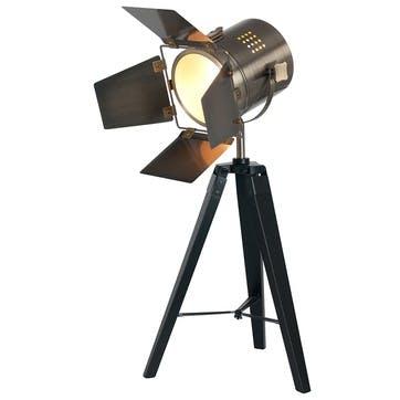 Hereford Film Table Light; Black & Antique Brass
