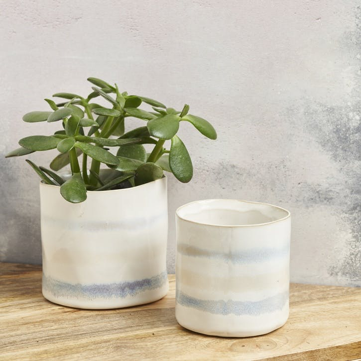 Ceramic Striped Planter - Small