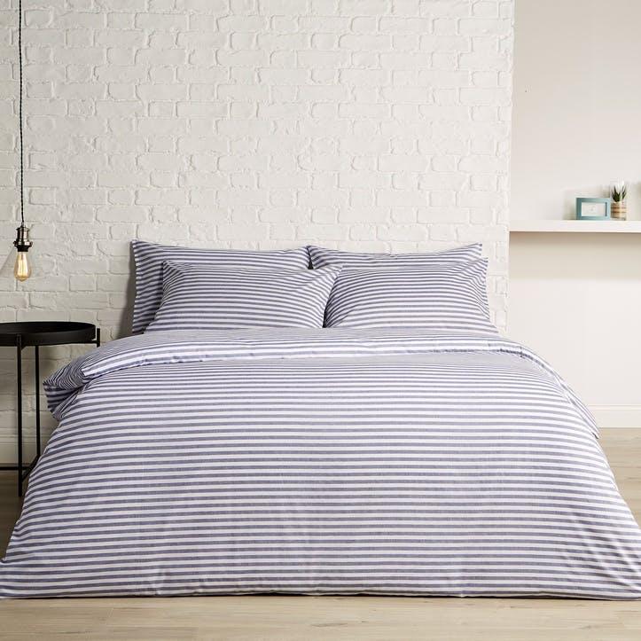 Pyjama Stripe King Duvet Set, Indigo