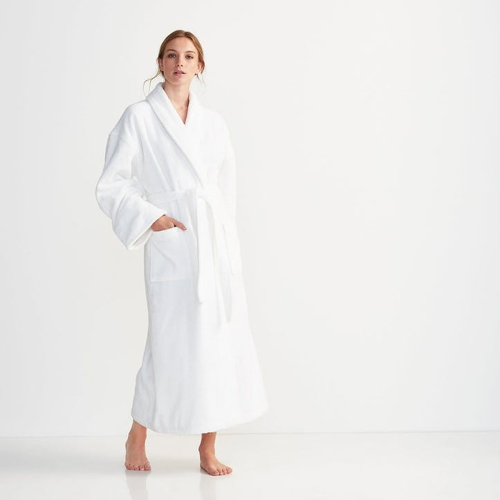 Unisex Classic Cotton Robe, Extra Small, White