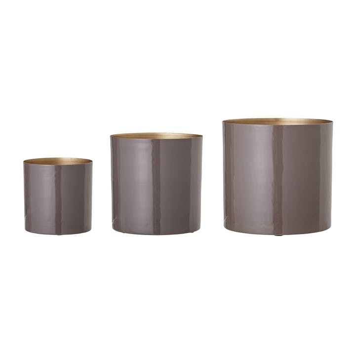 Metal Planters, Set of 3, Purple