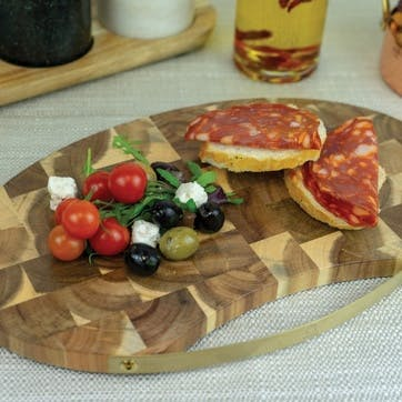 Acacia Wood Serving Board with Brass Handle