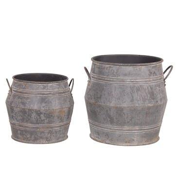 Set of 2 Large Metal Bucket Planters