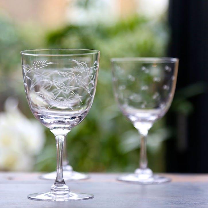 Ferns Crystal Wine Glasses, Set of 6