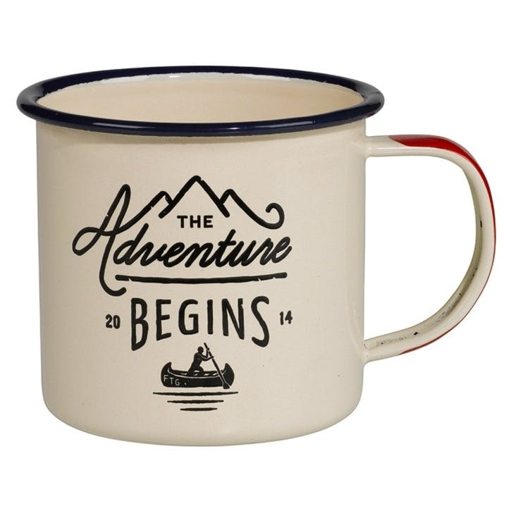 Adventure Begins Enamel Mug, Cream