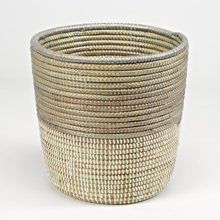 Handwoven Wastepaper Basket; Two Tone Grey