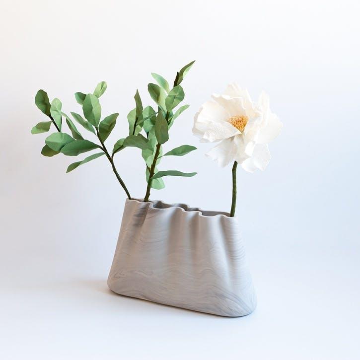 Jumony Wide Vase, White Marble
