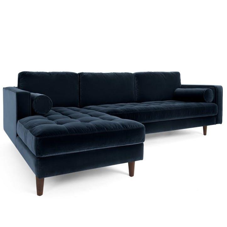 Scott 4 Seater Left Hand Facing Chaise End Corner Sofa, Navy Cotton Velvet