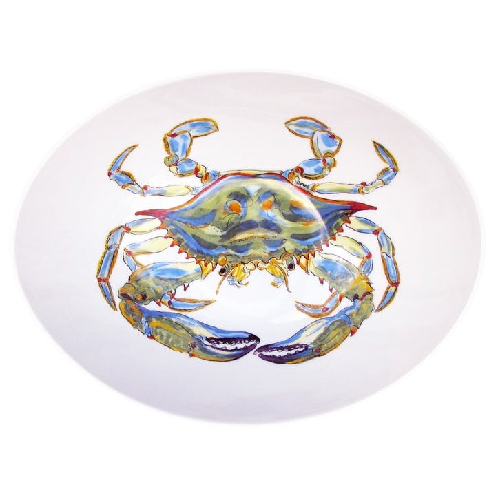 Blue Crab Oval Bowl - 27cm