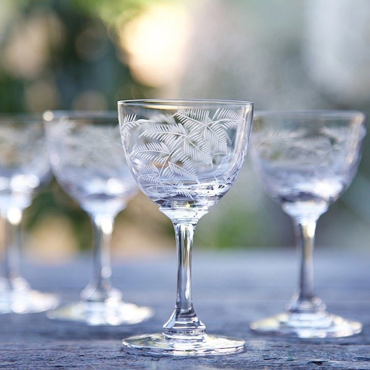 Ferns Crystal Liqueur Glasses, Set Of 6