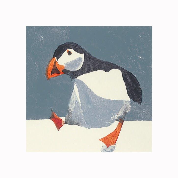 Julia Burns Puffin Canvas Print - 60 x 60cm