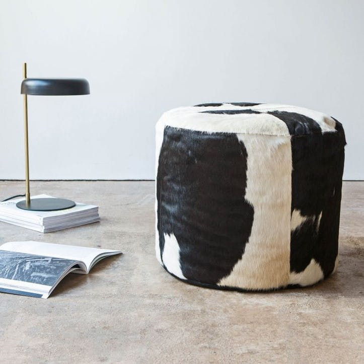 Black and White Cow Hide Pouffe