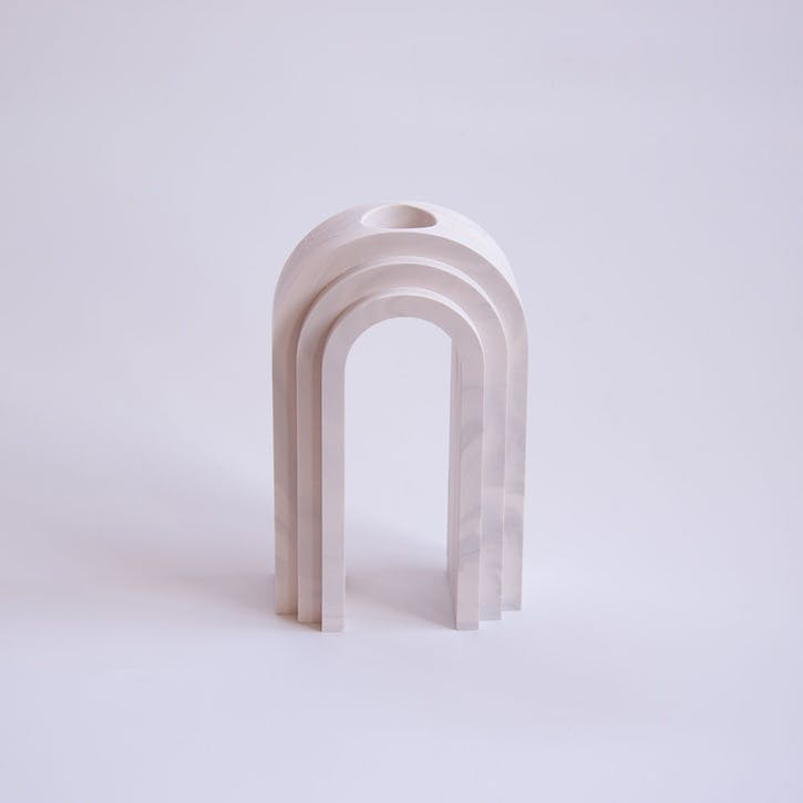 Scala Vase, White Marble