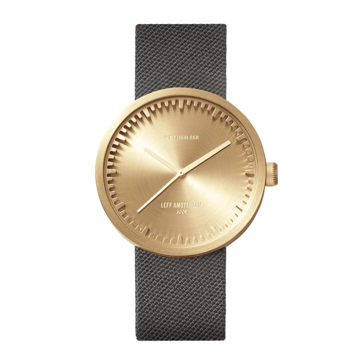 Tube Watch D38, Brass with Grey Strap